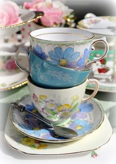 English Fine Bone China Vintage Tea Trios, Teacups, Saucers and Tea Plates to buy at Cake Stand Heaven