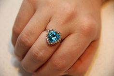 Adjustable ring for women ring with blue heart ring by ShiningBead