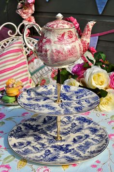romantic toile de jouy cake stand with teapot top