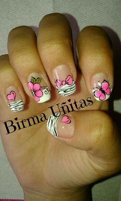 Stop the cuteness! Crazy Nails, Fancy Nails, Pink Nails, Pretty Nails, Valentine Nail Art, Flower Nail Art, French Tip Nails, Get Nails, Cute Nail Art