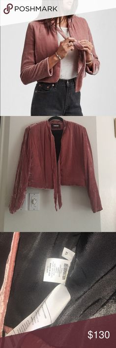 Reformation bolero jacket in pink velvet size XL Reformation bolero jacket in pink velvet size XL. Beautiful and can go with anything! Reformation Jackets & Coats