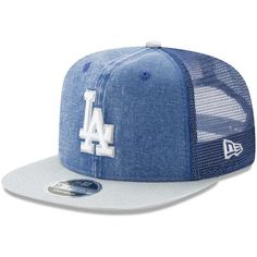 8c48ebc2070 Men s New Era Navy Gray Los Angeles Dodgers Rugged Trucker Original Fit  9FIFTY Adjustable Snapback Hat
