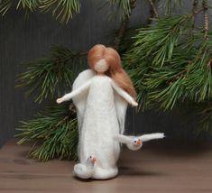 Needle felted Christmas Angel with birds Waldorf Christmas