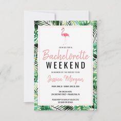 Bachelorette Itinerary, Beach Bachelorette, Bachelorette Party Invitations, Custom Invitations, Invite, Rsvp, Flamingo