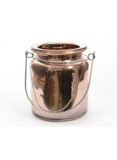 Copper Glass T Light Holder 9.2cm @ rosefields.co.uk
