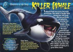 Name: Killer Whale Category: Monsters of the Deep Card Number: 48 Front: Killer Whale Monsters of the Deep Card 48 front Back: Killer Whale Monsters of the Deep Card 48 back Trading Card: Shark Facts, Rare Animals, Strange Animals, Unusual Animals, Wild Animals, Underwater Creatures, Wild Creatures, Prehistoric Creatures, Pet Rats