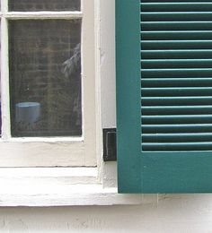 exterior shutter hinges attached to brick mold on brick house ...