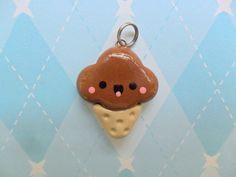 polymer clay charms   Kawaii Chocolate Ice Cream Charm Cute Polymer Clay Charm