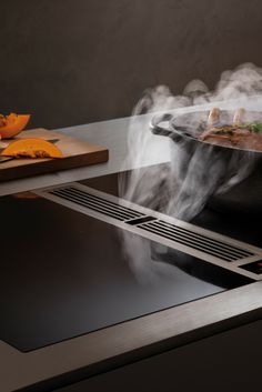 BORA cooktop extractor: price, performance, cleaning and more to the hob with extractor down - Kochfeldabzug: Dunstabzug nach unten - Küche Design Kitchen Pantry Cabinets, Custom Kitchen Cabinets, Custom Kitchens, Wooden Kitchen, Kitchen Furniture, Kitchen Interior, Cool Kitchens, Kitchen Appliances, Kitchen Decor