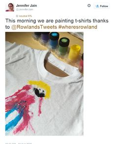 Blogger Jennifer Jain painting a T-Shirt for Rowland with her little ones. Why not enter here: http://www.rowlandspharmacy.co.uk/wheres-rowland-t-shirt-competition.cfm