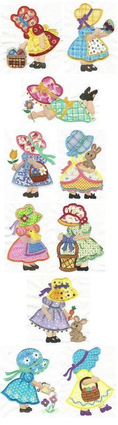 Easter Sunbonnet Belles applique design set available for instant download at www.designsbyjuju.com