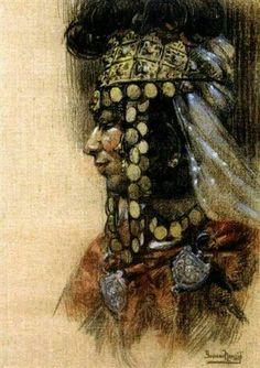 Algérie - Peintre Français  Yvonne Kleiss Herzig(1895–1968), Pastel sur toile,  Titre: Ouled Nail