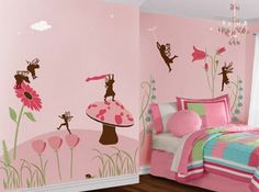Pink Color Painting Wall Mural for Kids Bedroom