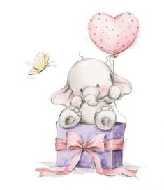 Elephant Bela Heart Balloon Unmounted Rubber Stamp Wild Rose Studio # New Elephant Love, Elephant Art, Elephant Gifts, Illustration Mignonne, Cute Illustration, Animal Drawings, Cute Drawings, Cute Images, Cute Pictures