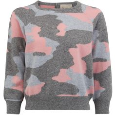 JUMPER 1234 Camouflage Cashmere Jumper - Mid Grey, Silver Grey & Dusty... found on Polyvore featuring tops, sweaters, shirts, camouflage sweaters, camo shirt, raglan shirts, grey shirt and long cashmere sweater