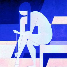 "KORE + THE SANDAL | The white purity of Cycladic figurine: ""In painting you can not chatter. You must discipline. You must restrain the synthesis anything unnecessary…"" Yiannis Moralis (1916 – 2009). Girl Untying her Sandal, 1973. Acrylic on canvas, 146 x 100 cm. Read more >> https://thegreekdesigners.com/2016/06/29/kore-the-sandal/"