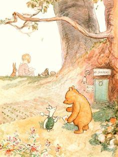 Winnie the Pooh - illustration by E.H. Shepard features Winnie-the-Pooh and Piglet, with Christopher Robin and friends in the background.