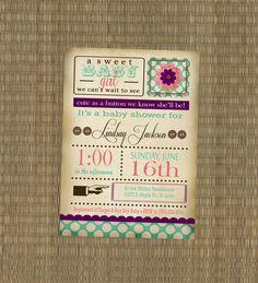 Printable Baby Shower Invitation - Shabby Chic Baby Shower Invitation - Vintage Invitation - Cute as a button baby shower. $15.00, via Etsy.