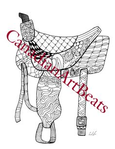 Saddle Western Horse Coloring Page Printable Downloadable Art by CanadianArtBeats on Etsy