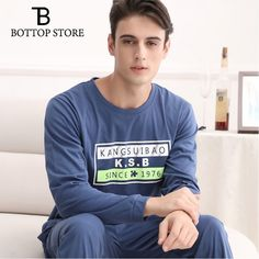Men Pajamas Man Cotton Long Sleeve Casual Pajamas Suit Mens Letter Sleepwear Two Piece Plus Size Winter Sleepshirts Leisurewear Price: & Flat Rate Shipping Suit Man, Measurement Chart, Flat Rate, Men's Clothing, Casual, Letter, Pajamas, Sweatshirts, Long Sleeve