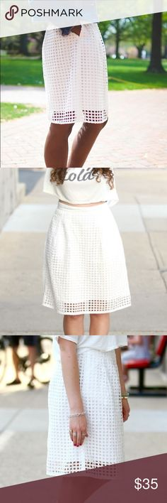 Ann Taylor High Waist Lined Caged Eyelet Skirt Gorgeous skirt in Excellent condition. Ann Taylor Skirts Midi