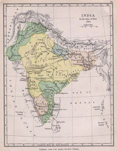 Maratha Empire in 1760 (yellow) Charles Colbeck - The Public Schools Historical Atlas by Charles Colbeck. New York; Bombay This is the political map of India in The yellow portion shown here is the Maratha Empire. Vintage India, Vintage Maps, Antique Maps, India World Map, India Map, Ancient Indian History, History Of India, Ancient Map, Madurai