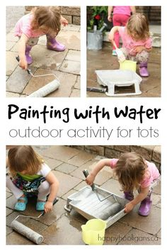 Educational Outdoor Fun for Kids-This simple outdoor activity will entertain kids all summer long! Painting with . Outdoor Activities For Toddlers, Outside Activities, Toddler Learning Activities, Games For Toddlers, Motor Activities, Infant Activities, Summer Activities, Indoor Activities, Family Activities