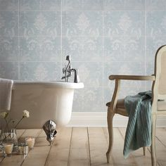 Laura Ashley's classic damask pattern of Josette expands across a two tile panel, Josette Duck Egg Décor Part A joins Part B to create an elegant feature wall. Duck Egg is a subtle and classic tile made in a durable and versatile ceramic and is suita. Decor, Blue Bathroom Tile, Laura Ashley Tiles, Tile Bathroom, Tile Design, Coordinates Decor, Duck Egg Blue Bathroom, Laura Ashley Josette, Classic Tile