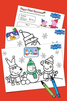 Get festive for the holidays with this Peppa Pig coloring pack.