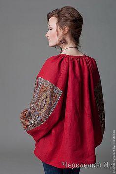 Этническая одежда ручной работы. Ярмарка Мастеров - ручная работа Рубаха женская льняная бордовая. Handmade.