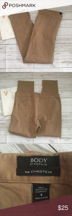 body by victoria womens 8 christie fit pants brown gently used   slightly discolored  great for work  body by victoria christie fit   waist = 15.5 inches  inseam = 27.5 inches Victoria's Secret Pants
