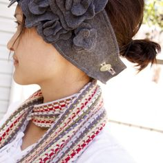 delia creates: blossom ear warmer (I want to put other kinds of flowers off this same idea...for bad hair days