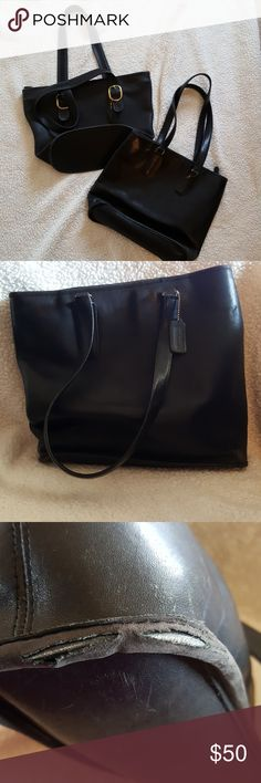 Lot of 2 vintage Coach totes in black Ok, so both of these have flaws,  The leather is super soft still.   I've shown the worst of the flaws in photos.  The one has a small split on bottom as shown.  One has a scratch, also shown.  The rest is regular wear and tear on a vintage product.  The interiors are in good shape.  These are as is. The one with gold buckles is about 11 inches high and 15 inches wide.  The one without buckles is the one with the split and is about 12 inches high and 15…