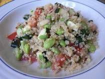 Quinoa and Edamame Salad  http://lowfatcooking.about.com/od/salad1/r/quinoaedamame.htm#