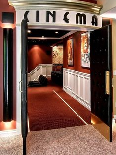 Movie Room Design, Pictures, Remodel, Decor and Ideas - page 17 If I could afford it, this would be my preferred entrance to my media room! Movie Theater Rooms, Home Cinema Room, Theatre Rooms, Movie Theater Basement, Home Theatre, Theater Room Decor, Deco Cinema, Cinema Theatre, Media Room Design