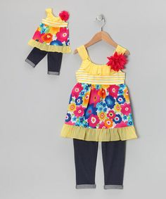 Yellow Floral Tunic Set & Doll Outfit