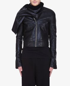 Rick Owens Shearling Wrapped Rover leather Jacket | UpscaleHype