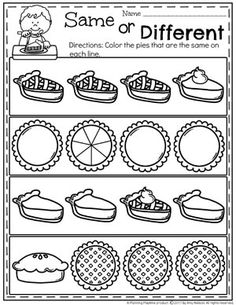 Preschool Thanksgiving Activities - Planning Playtime - Preschool Thanksgiving Worksheets – Same or Different Pies - Fall Preschool, Preschool Learning Activities, Preschool Curriculum, Kindergarten Worksheets, Toddler Activities, Preschool Activities, Kids Learning, Homeschool, Thanksgiving Worksheets