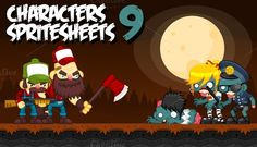 Check out Characters Spritesheets 9 by pzUH on Creative Market