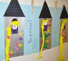 Learn and Grow Designs Website: Rapunzel Children's Art Craft and Rapunzel Book List Fairy Tale Projects, Fairy Tale Crafts, Fairy Tale Theme, Kids Crafts, Diy And Crafts, Arts And Crafts, Fairy Tale Activities, Craft Activities, Rapunzel Book