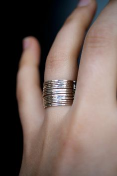 Metalwork Rings Skinny Rings Sterling Silver Rings Ready to Ship Size 8 Set of 3 Rustic Rings Hammered Stacking Rings Stacking Rings