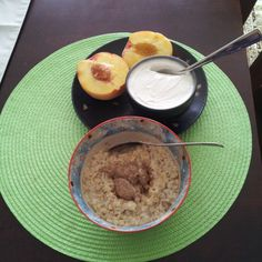 My rest day #breakfast was absolutely perfect today! I dont know about you, but when i eat good healthy food, it puts me in a good mood for the rest of the day! :) this was a fresh local peach with a cup of 0% FAGE #greekyogurt #greekgains  and cinnamon #oatmeal with #raw #almondbutter  I was actually hungry this morning and it felt so nice to eat without forcing myself! Today we have guests coming over for dinner...lets hope it will be a stress free evening! Have a good day #fitfam