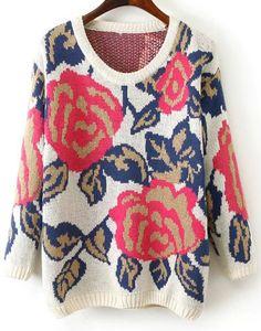 White Long Sleeve Rose Pattern Knit Sweater 21.33