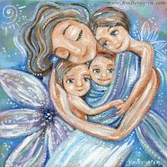 Fulfilled - mother with 3 children pink purple teal print by Katie m. Mother Daughter Art, Mother Art, Mother Daughter Tattoos, Tattoos For Daughters, Mother And Child Painting, Painting For Kids, Blue Wall Decor, Tattoos For Kids, White Lilies