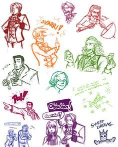 Ace Attorney sketches by Tuinen on deviantART