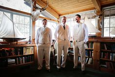 The groom and his groomsmen prepare for the big day in a cedar-lined cabin with mounted deer heads. Wedding Photographer: John and Colette photography & beauty Wedding Attire, Chic Wedding, Rustic Wedding, Wedding Ideas, Bridesmaids And Groomsmen, Bridesmaid Bouquet, Bridesmaid Dresses, Deer Heads, Bridesmaid Accessories