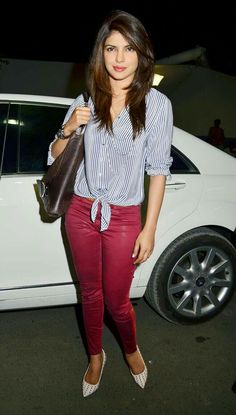 Looking for a similar striped top, maroon pants that Priyanka Chopra is wearing Celebrity Look, Celebrity Pictures, Bollywood Fashion, Bollywood Actress, Bollywood Stars, Hairstyles With Bangs, Trendy Hairstyles, Priyanka Chopra Wedding, Fashion Outfits