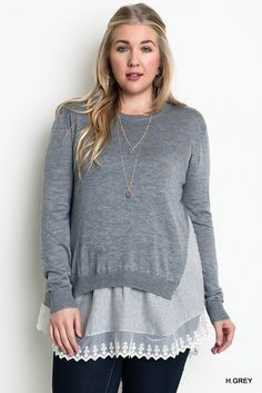 Plus Size Layered Lace Sweater Gray