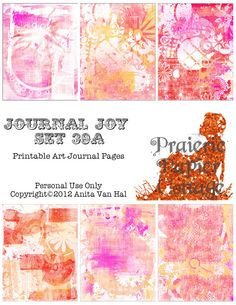 "Printable Art Journal  and Smash Book pages  8 1/2 x 11"";  by JustBYourself, $2.00; pink, orange, and red color palette; shabby and whitewashed!  Six pages..."