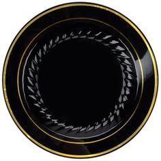 """Fineline Gold Splendor 507-BKG Black 7"""" Plastic Plate with Gold Bands - 150 / Case"""